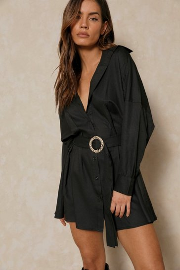 Womens Black D-Ring Belted Oversized Shirt Dress
