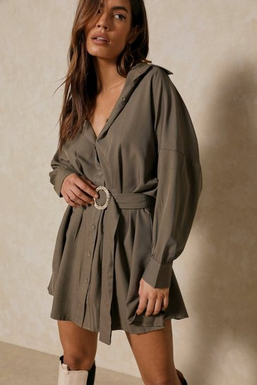 Khaki O-Ring Belted Oversized Shirt Dress