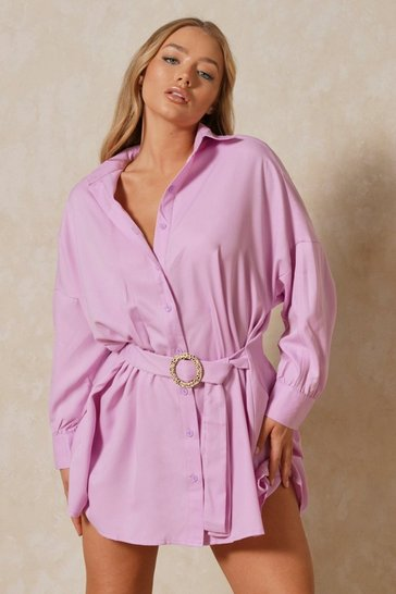 Lilac Leopard O-Ring Belted Oversized Shirt Dress