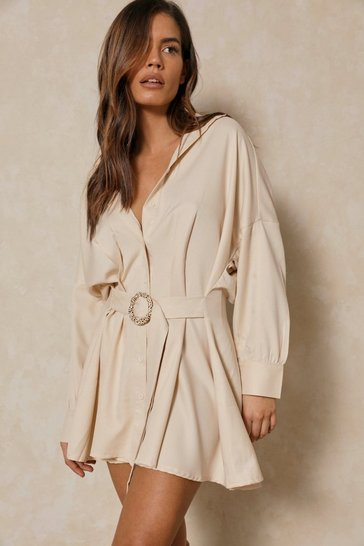Stone O-Ring Belted Oversized Shirt Dress