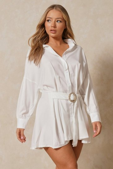 Womens White D-Ring Belted Oversized Shirt Dress