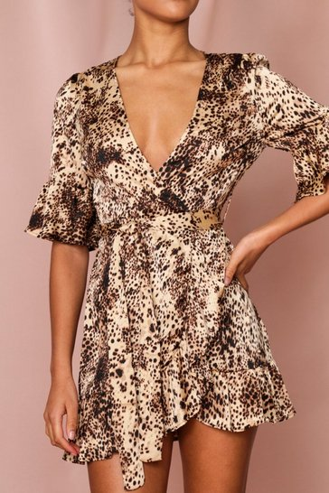 Animal Frill Detail Wrap Dress