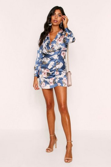 Womens Floral Print Satin Ruched Plunge Dress