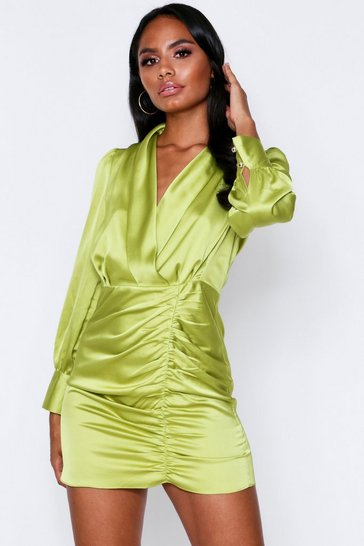 Womens Lime Satin Plunge Ruched Dress