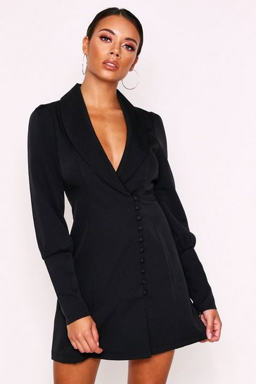 Black Button Detail Blazer Dress