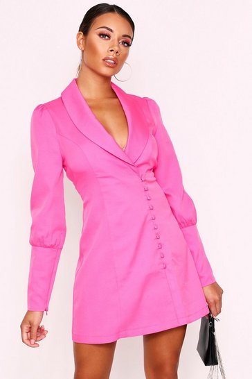 Fuchsia Button Detail Blazer Dress