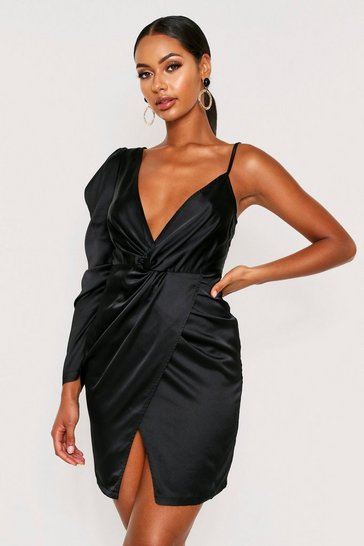 Womens Black Satin One Shoulder Twist Front Dress