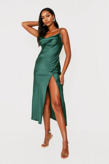 Womens Green Satin Cowl Neck Midi Dress