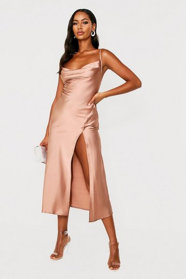 Womens Taupe Satin Cowl Neck Midi Dress