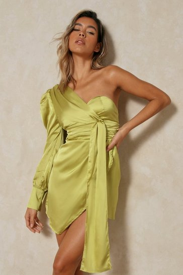 Womens Lime Satin One Shoulder Draped Dress
