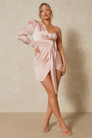 Womens Nude Satin One Shoulder Draped Dress