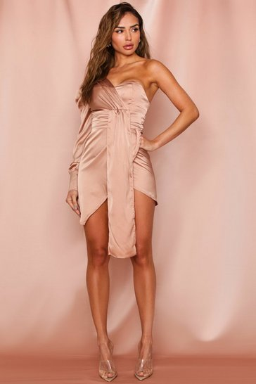 Taupe Satin One Shoulder Draped Dress