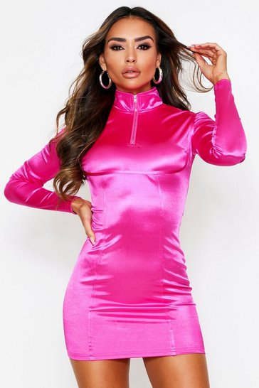 Womens Fuchsia Zip Front Satin Mini Dress