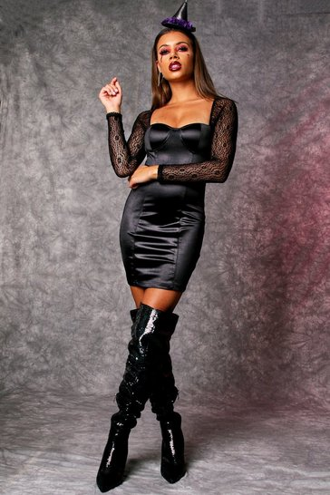 Womens Black Satin Cupped Bodycon Dress