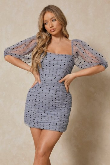 Womens Dusty blue Polka Dot Mesh Ruched Mini Dress