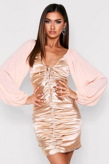 Womens Champagne Satin Ruched Balloon Sleeve Dress