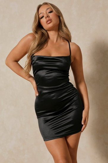 Womens Black Satin Lace Up Back Bodycon Dress