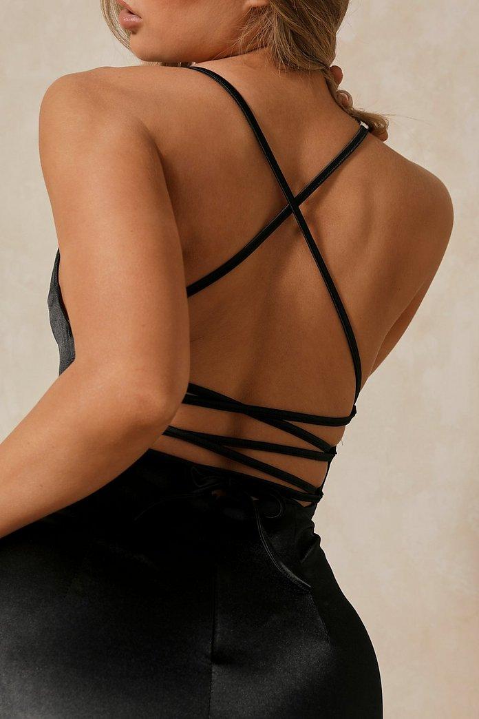 Satin Lace Up Back Bodycon Dress