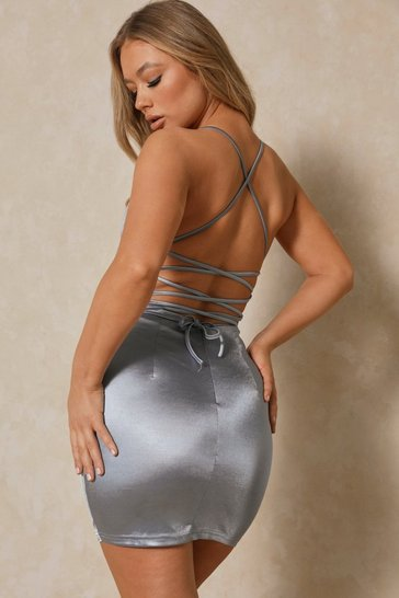 Womens Dusty blue Satin Lace Up Back Bodycon Dress