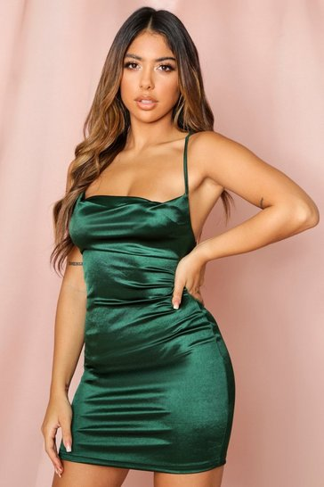 Emerald Satin Lace Up Back Bodycon Dress