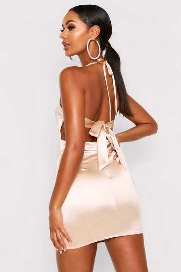 Womens Champagne Satin Tie Back Bodycon Dress