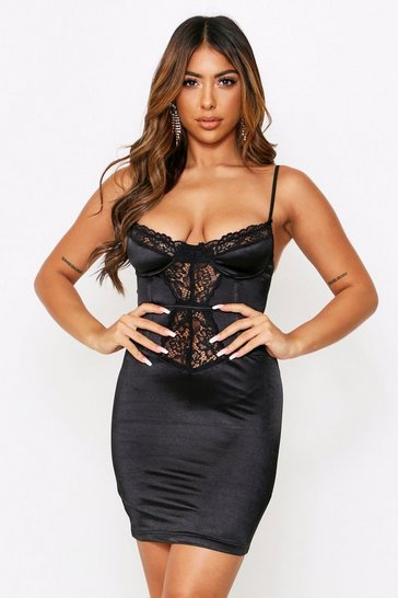 Womens Black Lace Underwired Satin Bustier Mini Dress