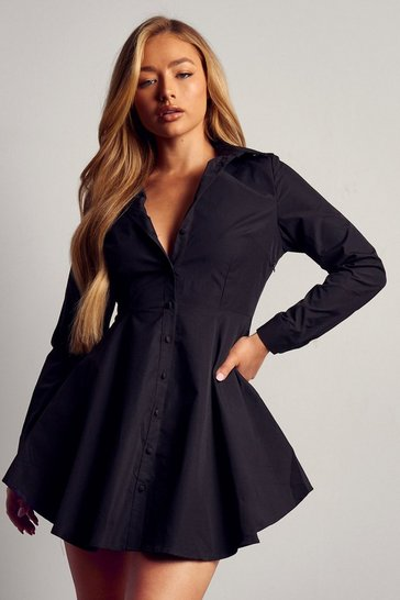 Womens Black Button Front Skater Shirt Dress