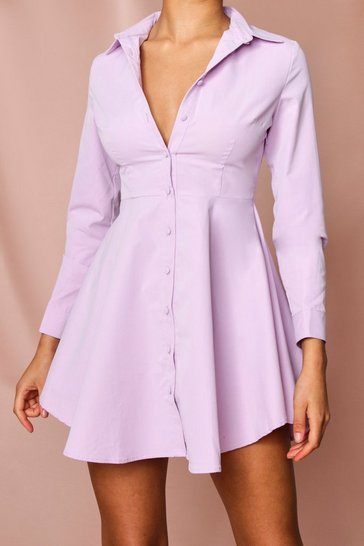 Lilac Button Front Skater Shirt Dress