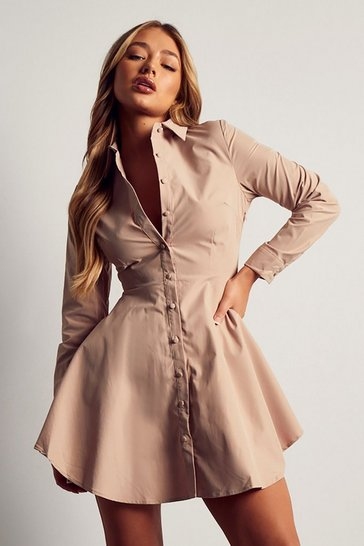 Stone Button Front Skater Shirt Dress