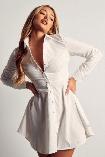 Womens White Button Front Skater Shirt Dress