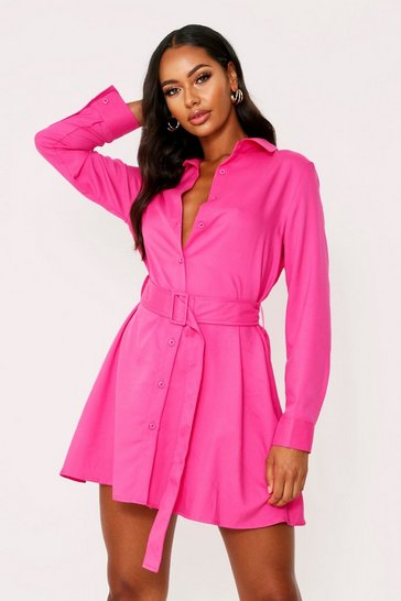 Womens Fuchsia Belted Oversized Shirt Dress
