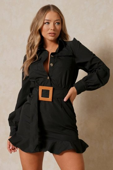 Black Frill Hem Belted Shirt Dress