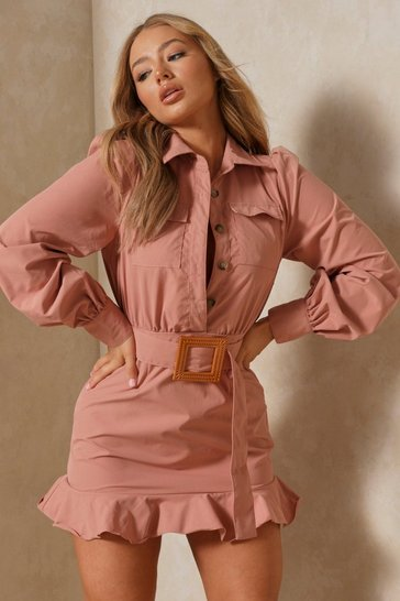 Womens Rose Frill Hem Belted Shirt Dress