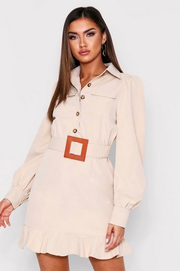 Womens Stone Frill Hem Belted Shirt Dress
