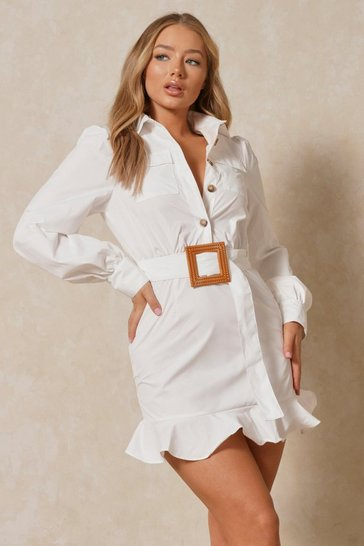 White Frill Hem Belted Shirt Dress