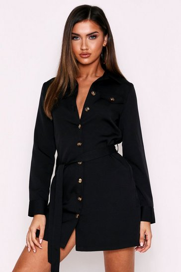 Womens Black Belted Utility Shirt Dress