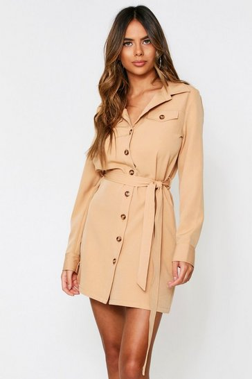 Camel Belted Utility Shirt Dress