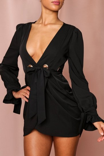 Black Eyelet Detail Belted Wrap Dress