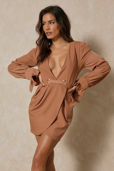 Womens Camel Eyelet Detail Belted Wrap Dress