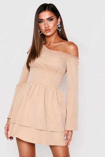 Stone Off Shoulder Frill Hem Skater Dress