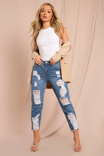 Mid wash High waisted Distressed Cropped Jeans