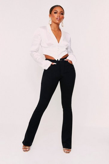 Womens Black High Waisted Kick Flare Jeans
