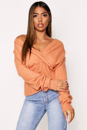 Womens Rose Off Shoulder Fluffy Knit Jumper