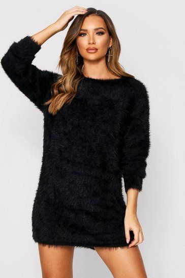 Womens Black Fluffy Slouch Knitted Jumper Dress