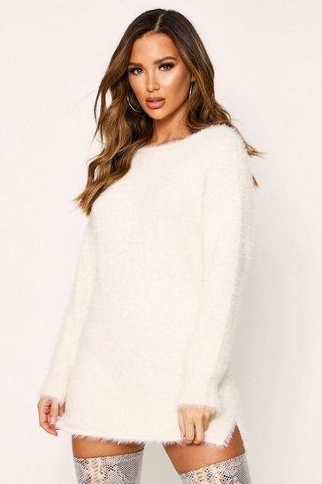 Womens Cream Fluffy Slouch Knitted Jumper Dress