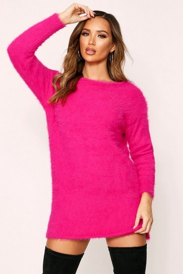 Womens Fuchsia Fluffy Slouch Knitted Jumper Dress