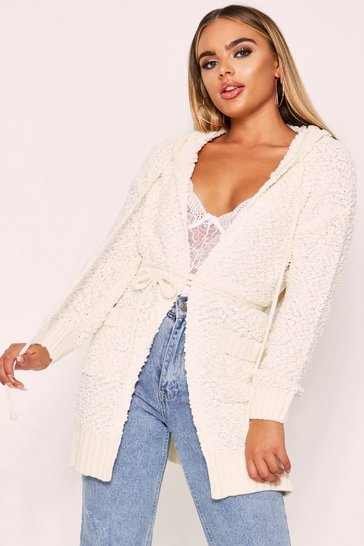 Cream Popcorn Knit Hooded Longline Jacket