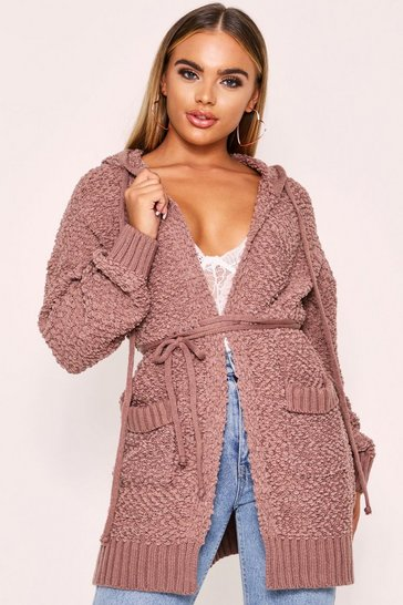 Womens Taupe Popcorn Knit Hooded Longline Jacket