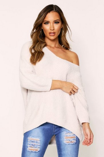 Womens Cream Fluffy V Neck Oversized Jumper