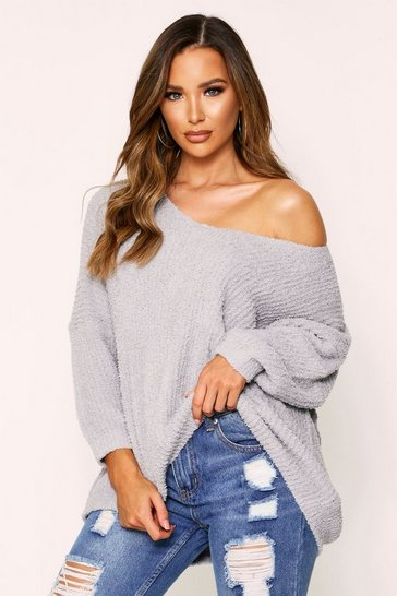 Womens Grey Fluffy V Neck Oversized Jumper